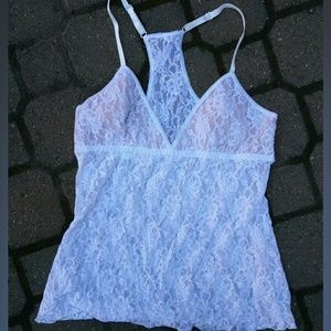 """""""X""""hanky panky white lace lined camisole racerback"""